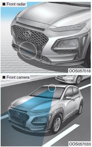 Hyundai Kona - FCA sensor - Forward Collision-avoidance Assist (FCA